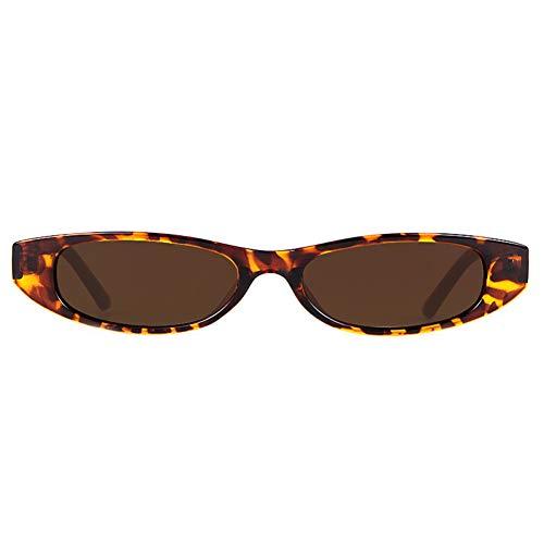 ZRTYJ Sonnenbrille Kleine rechteckige Sonnenbrille Frauen Markendesigner Vintage Narrow Leopard Frame 90S Chic Rechteck Sonnenbrille Shades