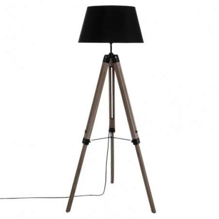 Lampadaire sur trépied - Esprit industriel - pied en bois - abat-jour NOIR
