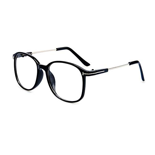 QDE Sonnenbrillen Brillengestell Aus Transparentem Rahmen Mit Schwarzem Rahmen Und Brillengestell Für Frauen Klare Linsenoptik Für Männer, Schwarz