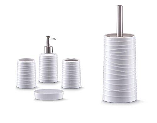 Bad Accessoire Set 5-teilig Keramik Design weiss Badezimmer Seifenspender WC-Bürste Zahnpflege Zubehör