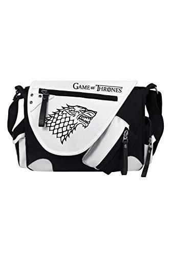 nes Stark Direwolf Sigil Crossbody Messenger Bag Handbag Tote Shoulder Bag Handtasche Einkaufstasche Umhängetasche Cosplay Schultasche Schwarz ()