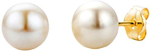 Miore Damen Ohrstecker 9 Karat - Klassische Perlen Ohrstecker aus 375 Gelbgold mit weißer Süßwasserzuchtperle - Perlenschmuck Ø 7 mm