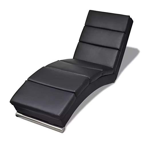 Tidyard Relaxliege Liegesessel Chaiselongue Wohnzimmer Relaxsessel Liege mit Verzinkten Stahlfußleisten Schwarz 154 x 52,5 x 72 cm -