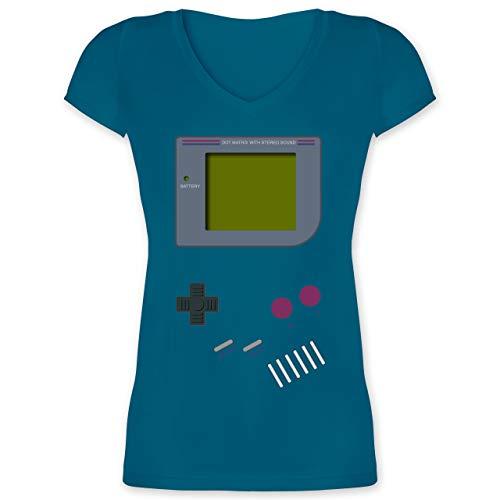 Nerds & Geeks - Gameboy - M - Türkis - XO1525 - Damen T-Shirt mit V-Ausschnitt
