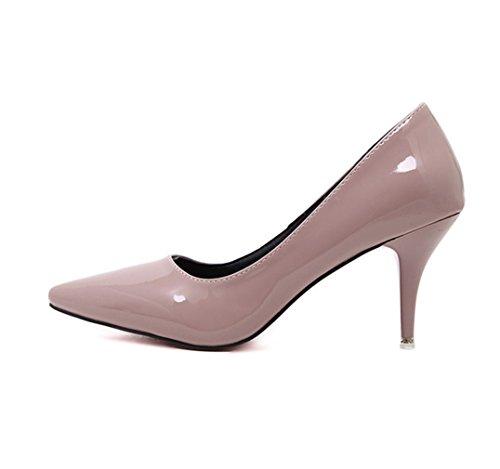 Damen Pumps Spitz Zehen Lackleder Slip on Einfach Formell Rutschhemmend OL Elegant Leicht Strapazierfähig Bequem Büro Freizeit Stiletto Pink