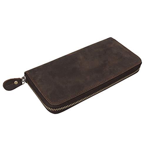 Kamiwwso Leder Herren Geldbörse Leder Lange Reißverschluss Geldbörse Retro-Handy-Tasche mit großer Kapazität (Color : Brown) Industrie-handy-fall