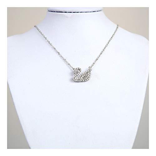 tall kristall Schwan Halskette Black Swan Crystal Anhänger Valentinstag Geburtstag Weihnachten Geschenk, silbrig ()