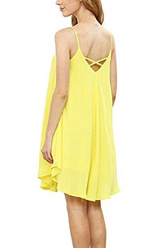 La Femme Est Élégante Robe Sans Manches Groupe Irrégulier Swing yellow