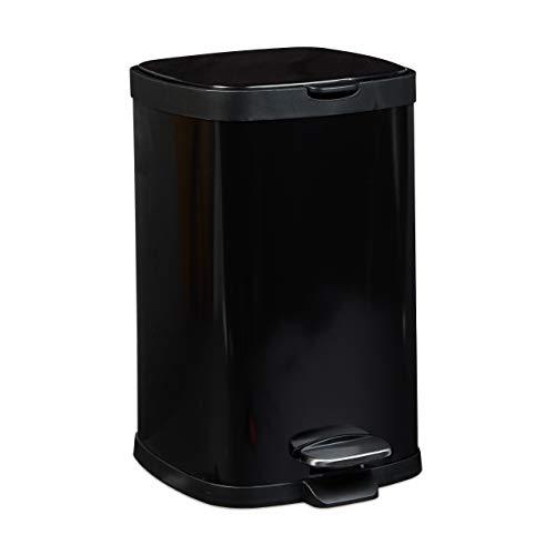 Relaxdays Treteimer 12 L, Metall, groß, eckig, Absenkautomatik, für Küche und Bad, HxD: 40 x 26 cm, Abfalleimer, schwarz