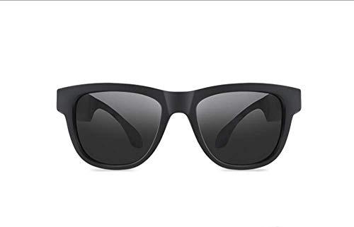 ZZR Knochenleitung Drahtlose Bluetooth-Sonnenbrille, Bluetooth-Kopfhörer Musik-Stereo-Hören Unterstützt, Geeignet Für Sportarten Laufen Radfahren Wandern,Black