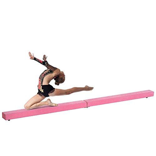 Homcom Poutre de Gymnastique Pliable Poutre d'équilibre antidérapante 2,4 m revêtement Daim Rose 04PK