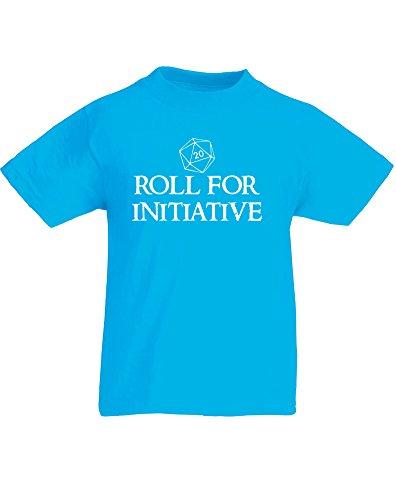 Roll for Initiative, Kind-druckten T-Shirt - Azurblau/Weiß 3-