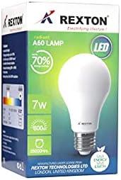 Rexton RA6-7R RA60-7 LED Bulb A60 7 Watt, White, H 28.2 x W 34.1 x D 40.6 cm