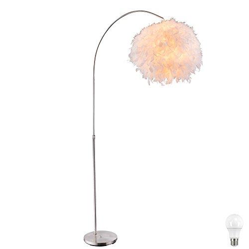 Steh Leuchte Feder Kugel Beleuchtung Fußschalter Lampe höhenverstellbar im Set inkl LED Leuchtmittel -