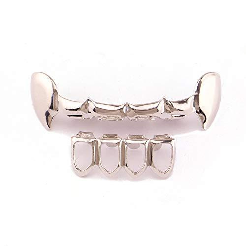 Zahngrills Hip Hop Zähne vergoldet Grills Set Vampire Oben und unten hohlen Stil Zähne Kappen Grills für Holleween Geschenk Einheitsgröße Zahnkappen Für Männer Frauen (Farbe : Silber)
