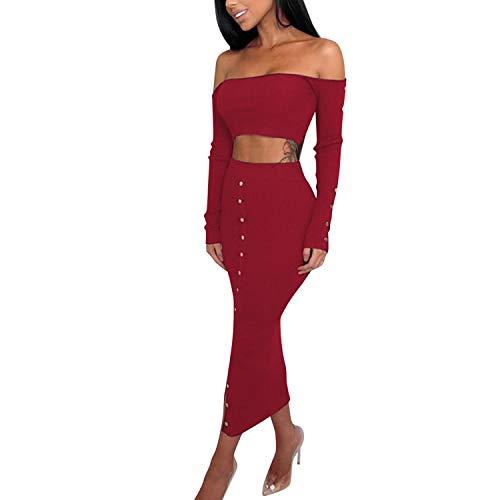 Katesid Damen 2 Stück Anzüge Bodycon Kleid Langarm Off Shoulder Bauchfrei Figurbetontes Niets Knopfleiste Stretch Partykleider (1 Top+ 1 Rock)
