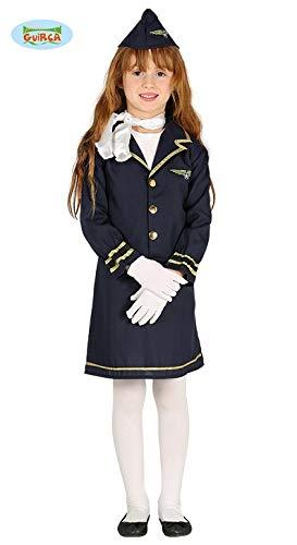 (Kinderkostüm Stewardess Sila Kleid blau Uniform Flugbegleiterin Berufe Fasching (3-4 Jahre))