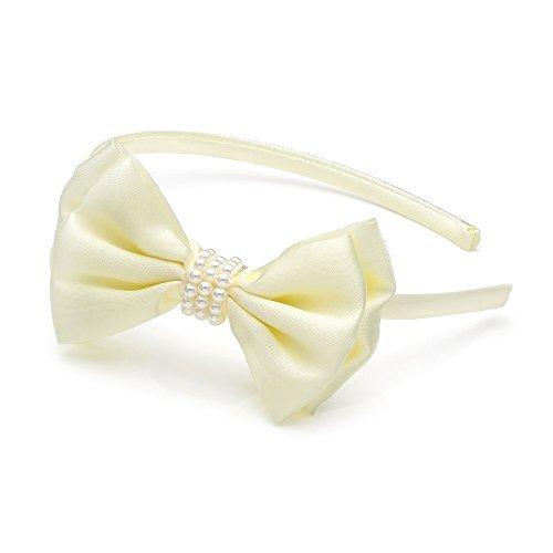 Crème Toucher Satin Motif nœud avec perle Centre Alice Bandeau