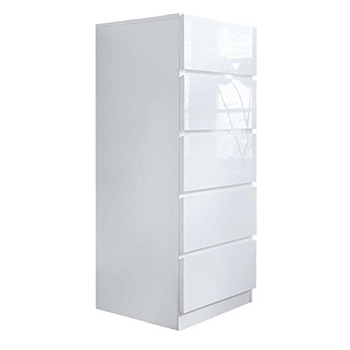 miaVILLA Schrank Arktis Kommode 5 Schubladen Hochglanz Weiß ca. B50 x T42 x H110 cm