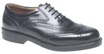 Mens Black Leather Fulfit Wing Cap Brogue Oxford Shoe (M9)