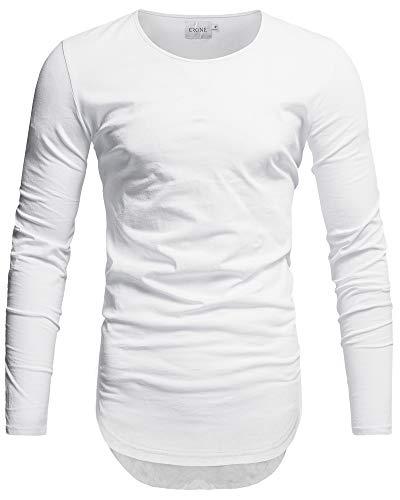 Crone Herren Langarm Shirt Longsleeve Slim Fit T-Shirt Leicht Oversize Basic Sweatshirt in vielen Farben (Medium, Weiss)