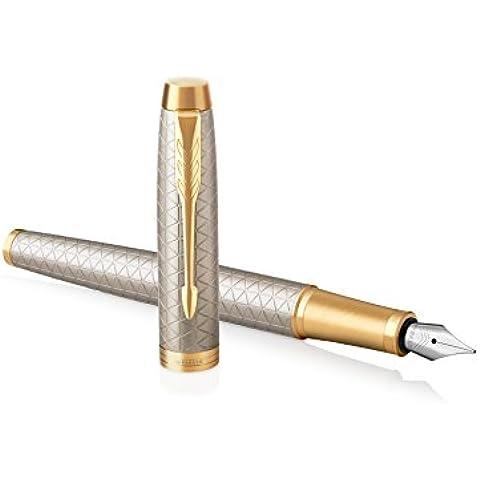 Parker IM–Penna roller con refill inchiostro nero a punta fine, colore: blu