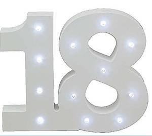 Leonardo Collection LED-Licht bis Zahl 18Geburtstag Jahrestag Geschenk, Holz, Weiß