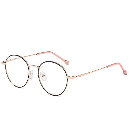 New Korean Version of The Literary and Artistic small Fresh Round Glasses Frame Male and Female Same Fashion Metal Trend Flat Mirror C5 Black Rose Gold Frame -