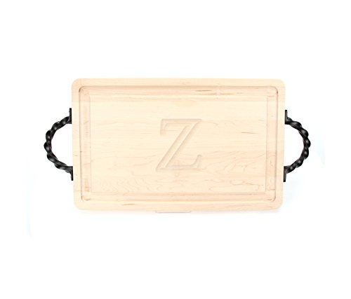 BigWood Boards 220-LTWS-Z Thick Carving Board with Large Twisted Square End Handle, 15-Inch by 24-Inch by 1.25-Inch, Monogrammed
