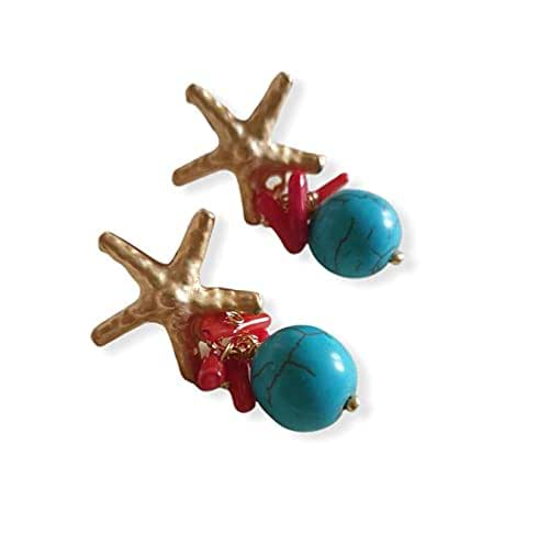 orecchini pasta di turchese, orecchini corallo, orecchini scaglie corallo, orecchini pietre dure