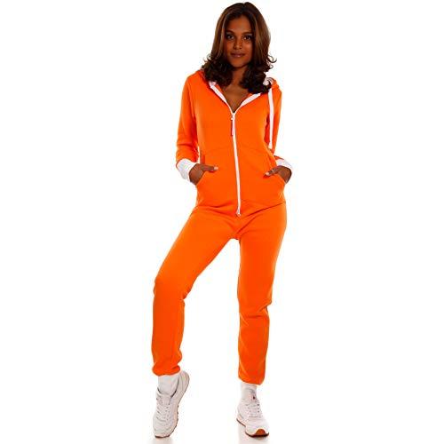 Orange Jumpsuit Kostüm Herren - Crazy Age Basic Jumpsuits Ganzkörperanzug Einteiler One Piece Schlafanzug Overall Damen Jumpsuit Kuschelig und warm (M, Orange)