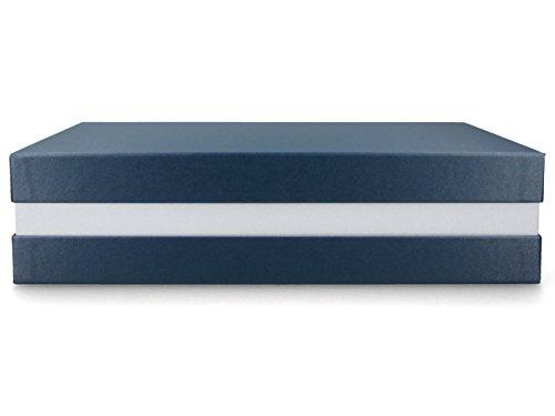 Geschenkbox Premium+ 33x22x8 cm Geschenkverpackung Blau metallic Silber Schachtel Geburtstag Weihnachten Hochzeit