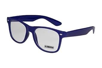 X-CRUZE® 1-024 X03 Nerd Brille ohne Stärke Vintage Retro Style Stil Klarglas Hornbrille Modebrille Unisex Herren Damen Männer Frauen Streberbrille navyblau