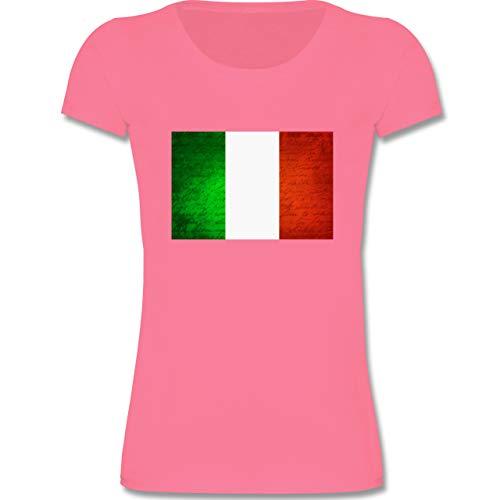 Städte & Länder Kind - Flagge Italien - 122-128 (7-8 Jahre) - Rosa - F288K - Mädchen T-Shirt