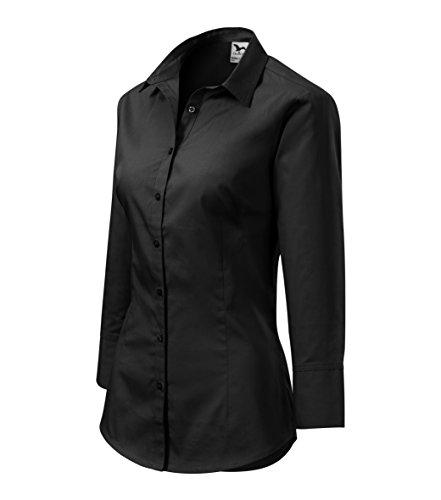 Elegante Damen Bluse Sommer   Zweiteiliger Hemdenkragen 3/4-Arm, Manschetten   100% Baumwolle   pflegeleicht   bis Größe XXL (Schwarz, L)