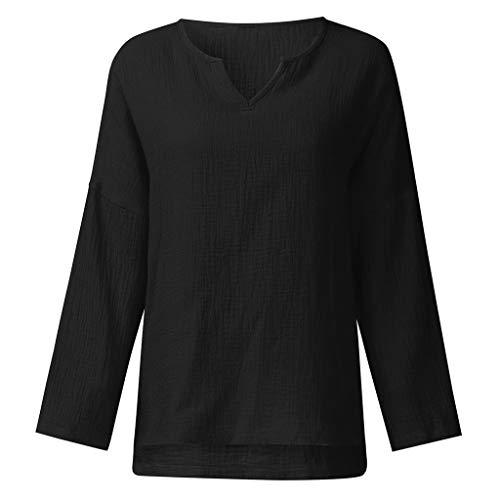 Cool Plus Polo (VWsiouev Frauen Plus Größen-V-Ansatz Baumwollleinenlange Hülsen-beiläufige Lange T-Shirt Bluse Hemd-Bluse)
