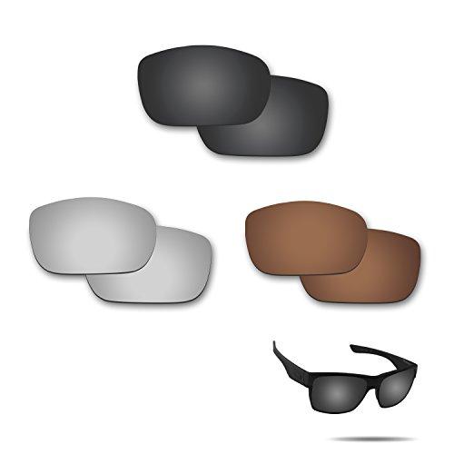 Fiskr Anti-Saltwater Polarisierte Ersatz Gläser für Oakley Twoface Sonnenbrille 3Paar Pack, Stealth Black & Metallic Silver & Bronze Brown