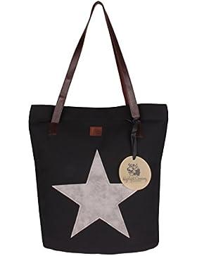 Highlight Company Shopper Tasche mit großem Stern, langen Riemen aus Lederimitat und Reißverschluß
