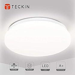 Deckenleuchte LED Deckenlampe 1500LM Ø28cm 4500K TECKIN Natürliches Weiß Deckenleuchte für Bad Schlafzimmer Küche Balkon Korridor Büro Esszimmer Wohnzimmer