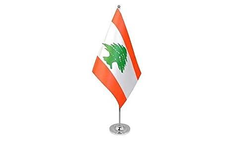 DRAPEAU DE TABLE prestige LIBAN 22x15cm en SATIN - GRAND DRAPEAUX DE BUREAU LIBANAIS 15 x 22 cm - AZ FLAG
