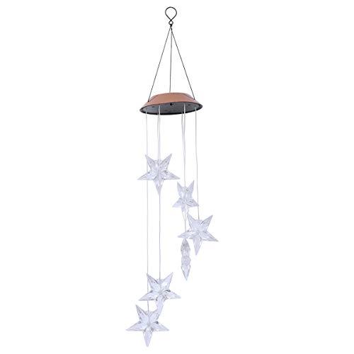 Mobestech Solar-Windspiel mit Sternenmuster, Lichterkette, bunt, wechselnd, LED, Mobile Memorial Windspiel für Outdoor Hof, Garten Dekoration (Bronze-Abdeckung) -
