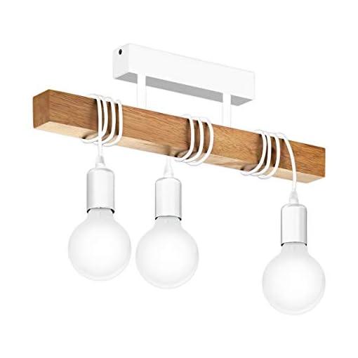 EGLO Townshend lampada a sospensione Supporto flessibile Bianco, Legno E27 A,A+,A++,B,C,D,E