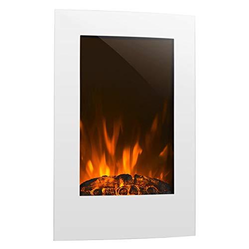 Klarstein Lausanne Vertical • Elektro-Kamin • elektrischer Kamin • E-Kamin • Heizfunktion • 1000 oder 2000 Watt Heizleistung • Glas • Flammen-Effekt • Wandinstallation • inkl. Fernbedienung • weiß