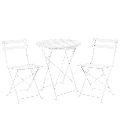 [casa.pro]® Bistro Set aus Holz (Tisch + 2 Stühle) Gartenmöbel - weiß