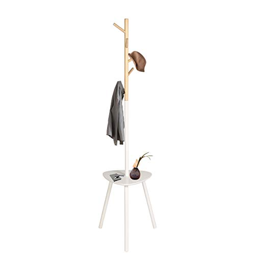 Happy Home Garderobenständer aus Holz mit Tisch 5 Haken für Flur Schlafzimmer (Weiß, 40 * 40 * 170cm) (Weiß - Dreieck Tabelle)