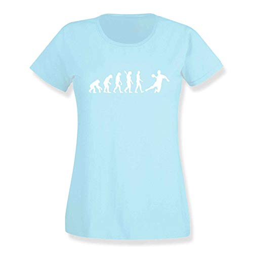 T-Shirt Evolution Handball DKB HBL Bundesliga THW Füchse Wetzlar Minden Lemgo Gummersbach Kreisläuferin 15 Farben Damen XS-3XL, Größe:2XL, Farbe:azure / azure blue / türkis - Logo weiss