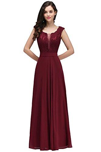 Damen Elegant Tüll A-Line Brautkleid Brautjungfernkleid mit Applique lang Weinrot 42