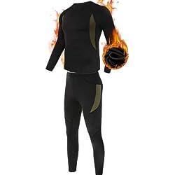 ESDY Ensemble de sous-Vêtements Thermiques Homme, Sport Base Layer Maillot Manches Longues + Pantalon Quick Dry Sou Vetement pour L'entraînement Ski Running Randonnée,Noir,M