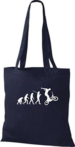 ShirtInStyle Stoffbeutel Jute Evolution Motorrad Fahrrad Biken Stunt Freebike Biker diverse Farbe blau