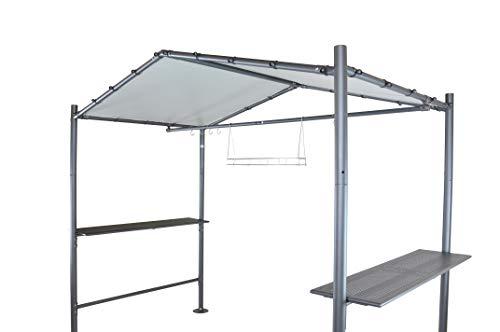 SORARA Grill Pavillon   Dunkel Grau   265 x 150 cm PVC Dach   Grillzelt mit Tisch   Garten, BBQ, Barbecue Zelt, Wetterfest